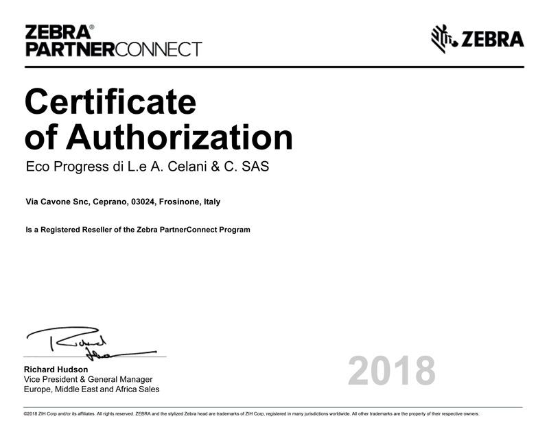 certificato-partner-zebra-eco-progress
